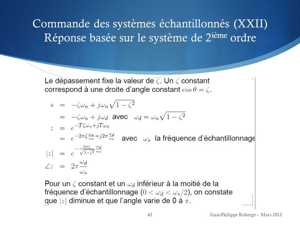 Commande des systèmes échantillonnés (XXII) Réponse basée sur le système de 2 ième ordre Jean-Philippe Roberge - Mars 201141