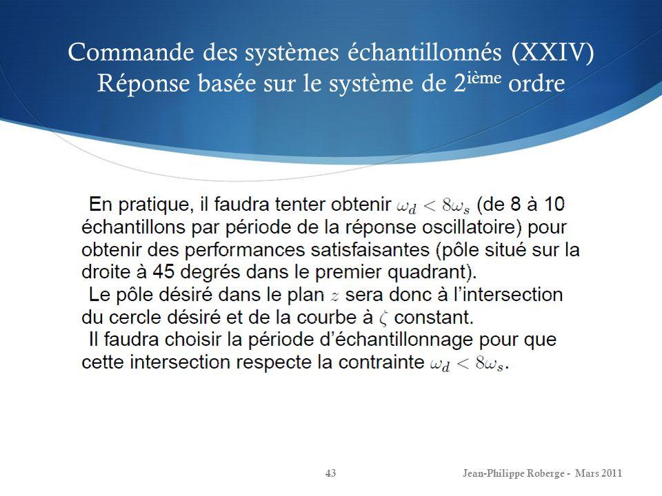 Commande des systèmes échantillonnés (XXIV) Réponse basée sur le système de 2 ième ordre Jean-Philippe Roberge - Mars 201143