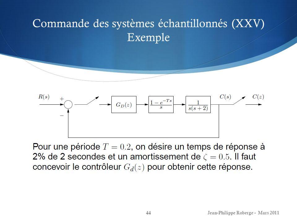 Commande des systèmes échantillonnés (XXV) Exemple Jean-Philippe Roberge - Mars 201144