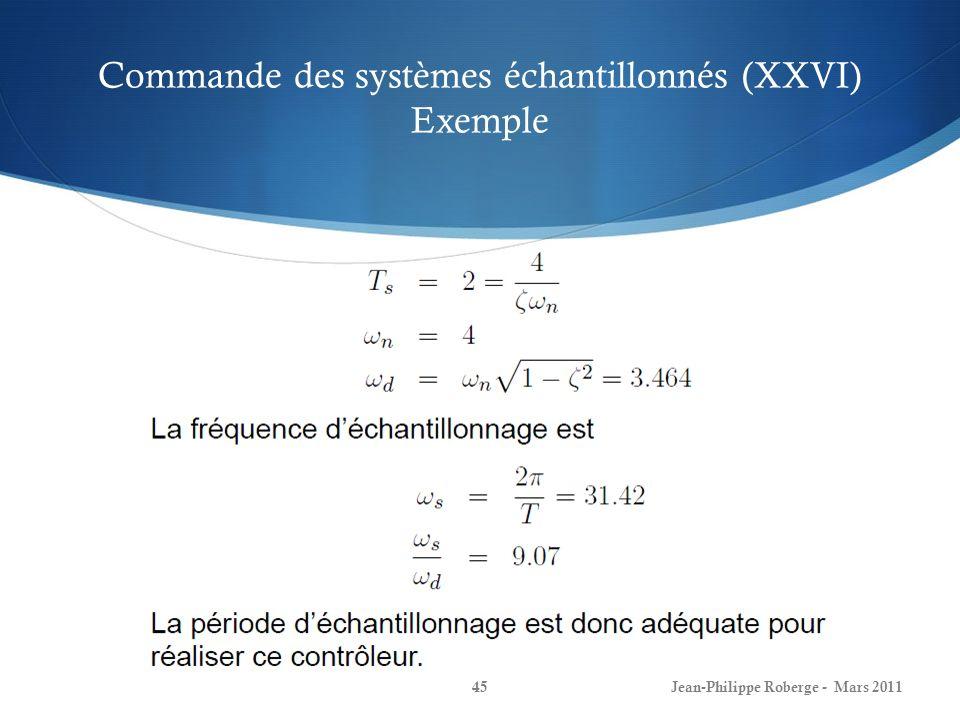 Commande des systèmes échantillonnés (XXVI) Exemple Jean-Philippe Roberge - Mars 201145