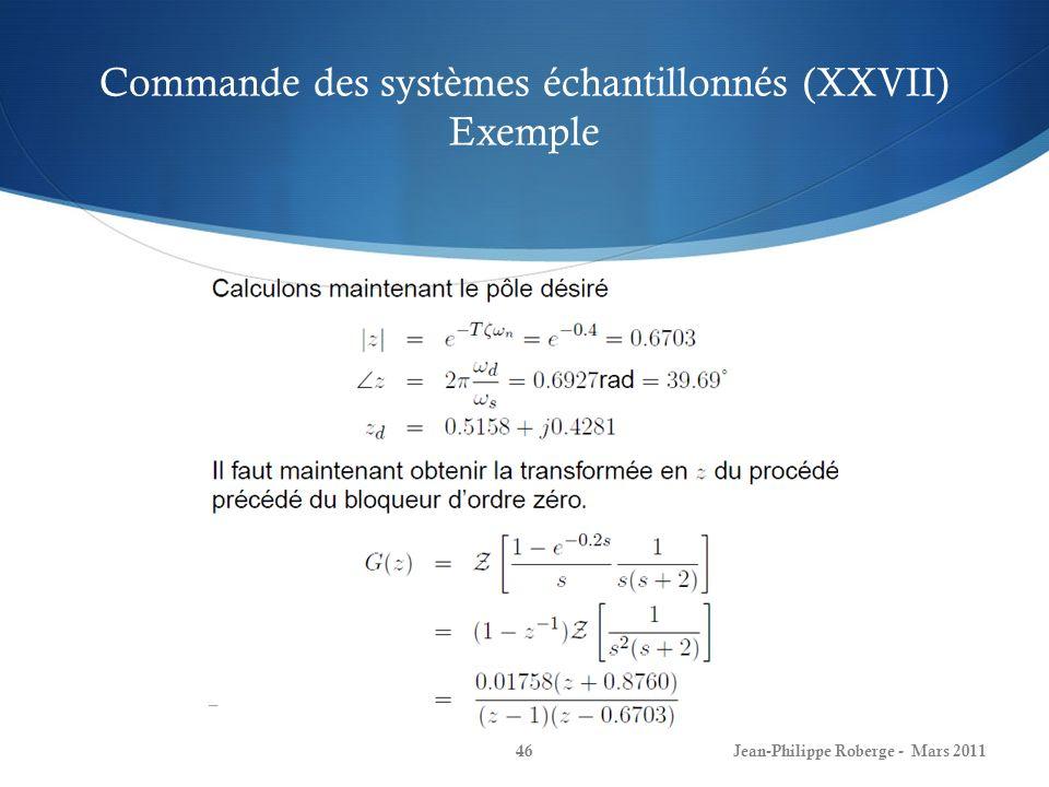 Commande des systèmes échantillonnés (XXVII) Exemple Jean-Philippe Roberge - Mars 201146