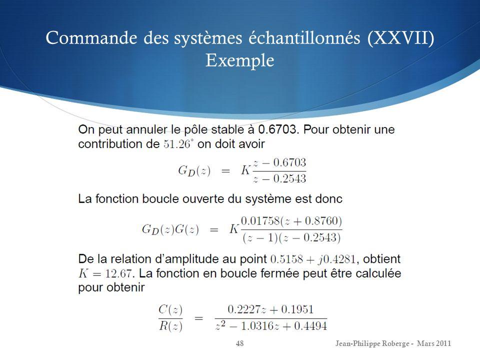 Commande des systèmes échantillonnés (XXVII) Exemple Jean-Philippe Roberge - Mars 201148