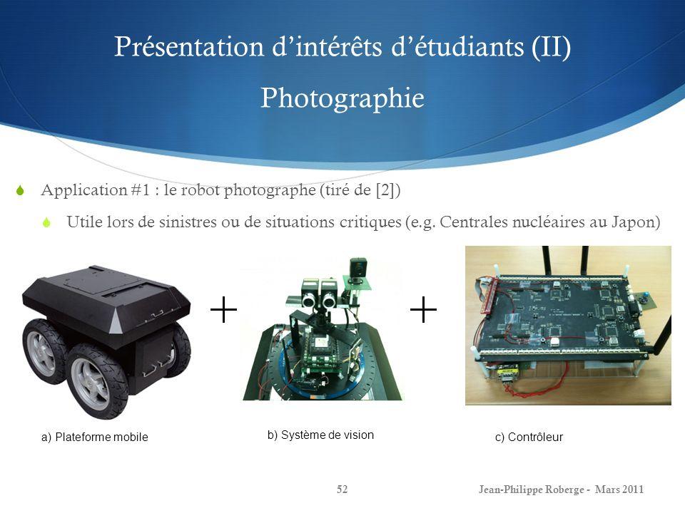 Présentation dintérêts détudiants (II) Photographie Jean-Philippe Roberge - Mars 201152 Application #1 : le robot photographe (tiré de [2]) Utile lors