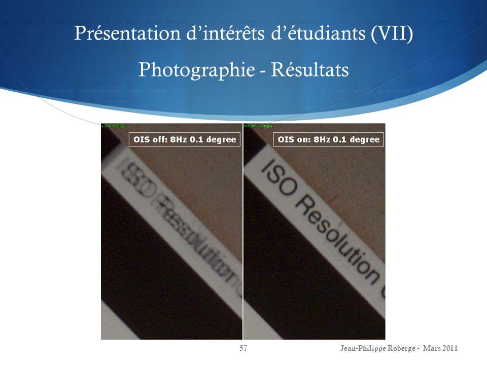 Présentation dintérêts détudiants (VII) Photographie - Résultats Jean-Philippe Roberge - Mars 201157