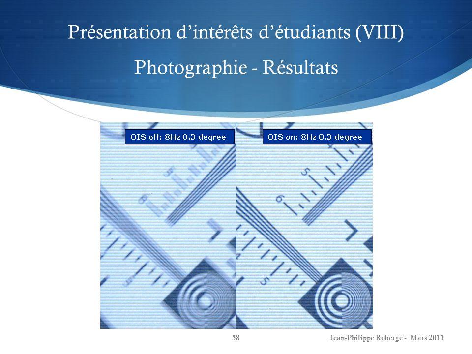 Présentation dintérêts détudiants (VIII) Photographie - Résultats Jean-Philippe Roberge - Mars 201158