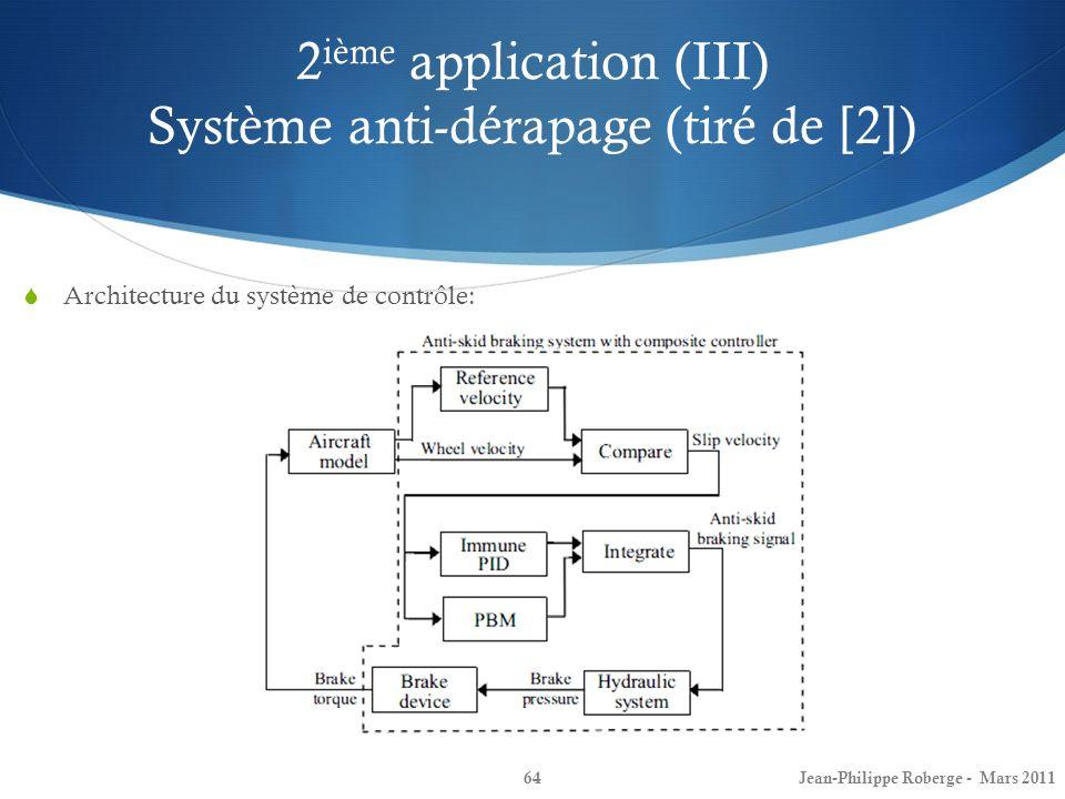 2 ième application (III) Système anti-dérapage (tiré de [2]) 64 Architecture du système de contrôle: Jean-Philippe Roberge - Mars 2011