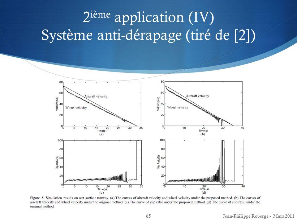 2 ième application (IV) Système anti-dérapage (tiré de [2]) 65Jean-Philippe Roberge - Mars 2011