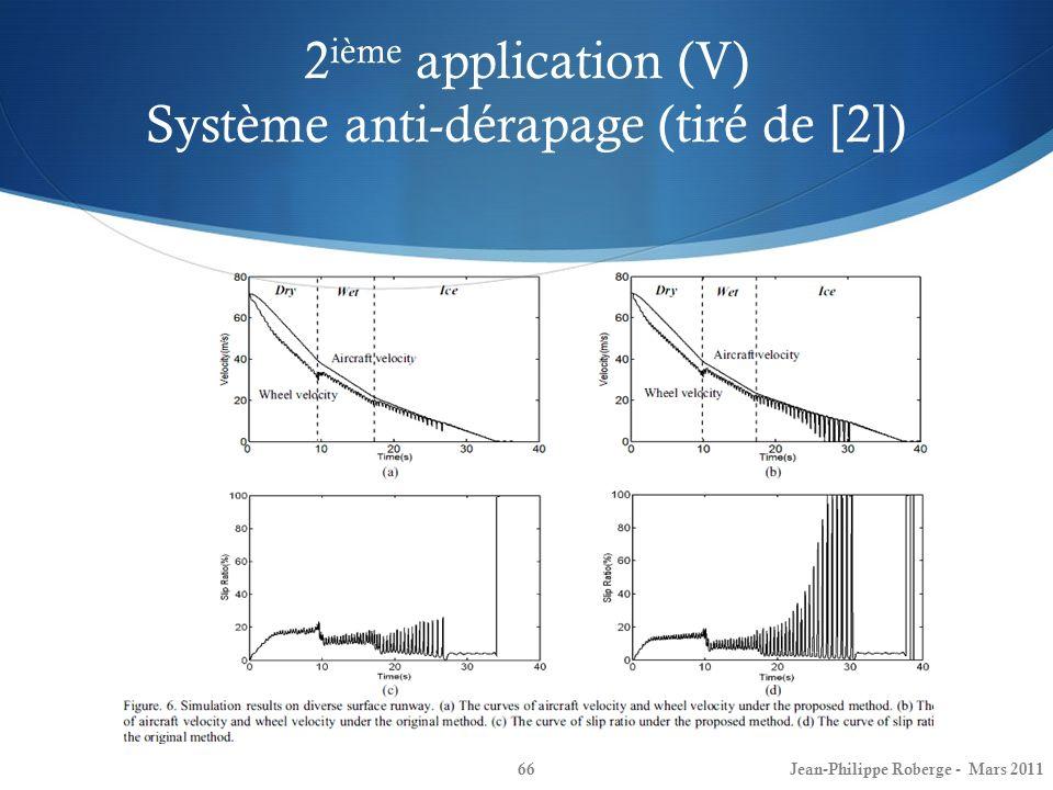 2 ième application (V) Système anti-dérapage (tiré de [2]) 66Jean-Philippe Roberge - Mars 2011
