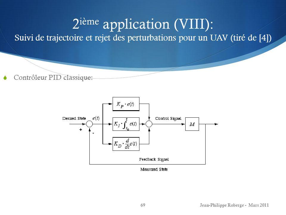 2 ième application (VIII): Suivi de trajectoire et rejet des perturbations pour un UAV (tiré de [4]) Contrôleur PID classique: Jean-Philippe Roberge -