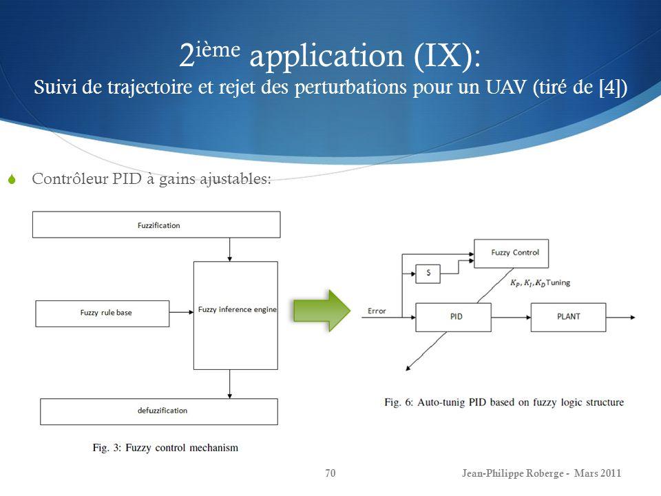 2 ième application (IX): Suivi de trajectoire et rejet des perturbations pour un UAV (tiré de [4]) Contrôleur PID à gains ajustables: Jean-Philippe Ro