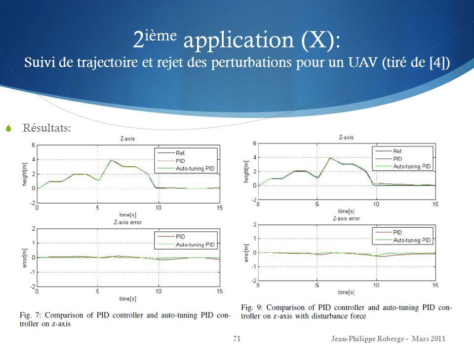 2 ième application (X): Suivi de trajectoire et rejet des perturbations pour un UAV (tiré de [4]) Résultats: Jean-Philippe Roberge - Mars 201171