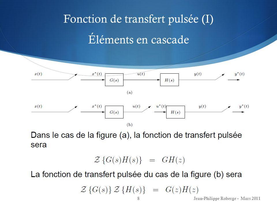 Fonction de transfert pulsée (I) Éléments en cascade Jean-Philippe Roberge - Mars 20118