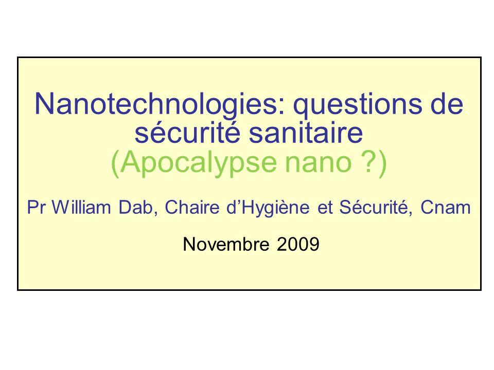 Nanotechnologies: questions de sécurité sanitaire (Apocalypse nano ?) Pr William Dab, Chaire dHygiène et Sécurité, Cnam Novembre 2009