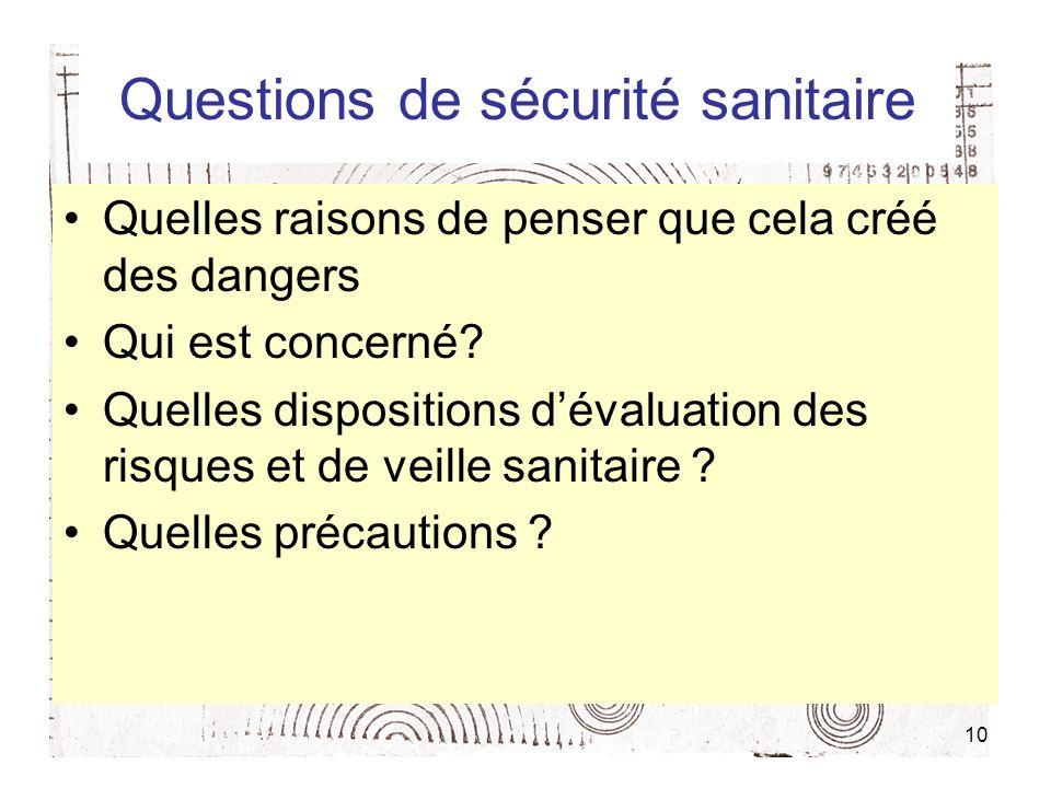 10 Questions de sécurité sanitaire Quelles raisons de penser que cela créé des dangers Qui est concerné.
