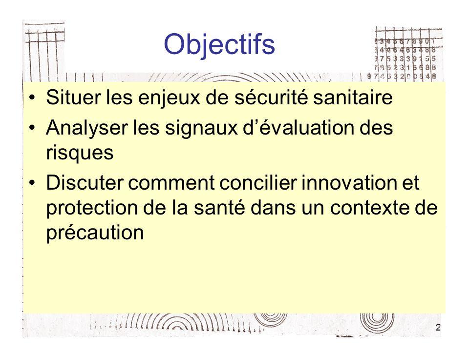 2 Objectifs Situer les enjeux de sécurité sanitaire Analyser les signaux dévaluation des risques Discuter comment concilier innovation et protection de la santé dans un contexte de précaution