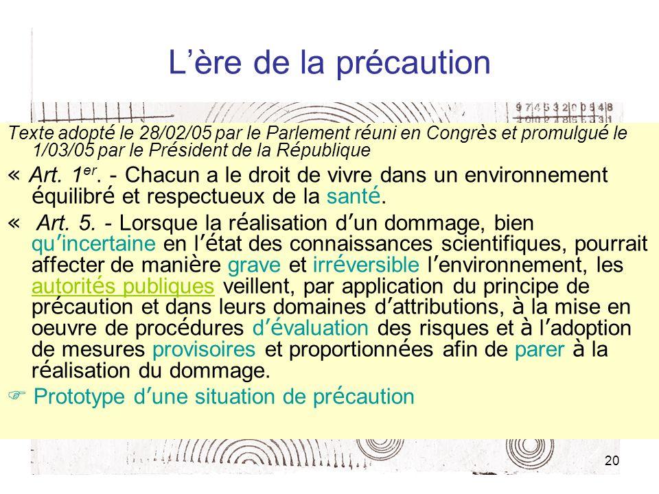 20 Lère de la précaution Texte adopt é le 28/02/05 par le Parlement r é uni en Congr è s et promulgu é le 1/03/05 par le Pr é sident de la R é publique « Art.
