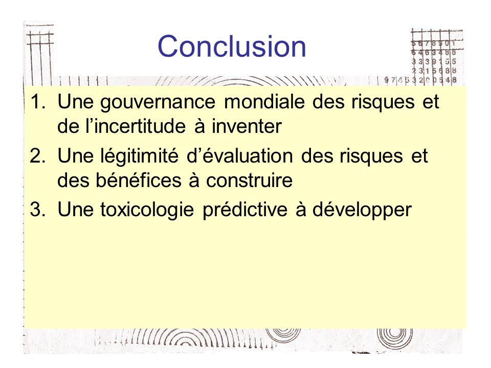 Conclusion 1.Une gouvernance mondiale des risques et de lincertitude à inventer 2.Une légitimité dévaluation des risques et des bénéfices à construire 3.Une toxicologie prédictive à développer