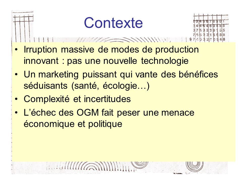 Contexte Irruption massive de modes de production innovant : pas une nouvelle technologie Un marketing puissant qui vante des bénéfices séduisants (santé, écologie…) Complexité et incertitudes Léchec des OGM fait peser une menace économique et politique