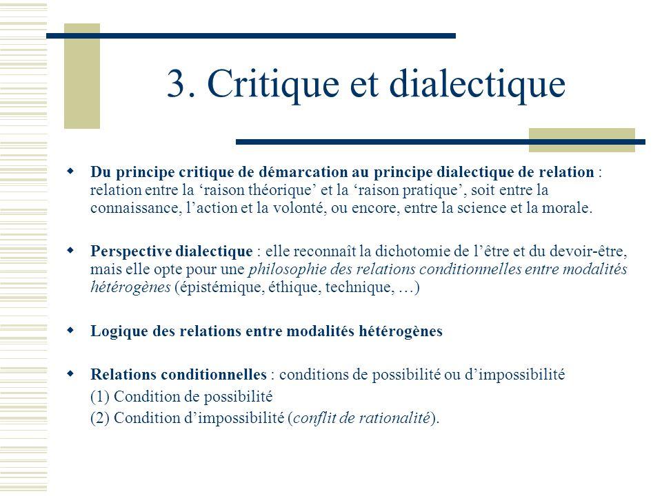 3. Critique et dialectique Du principe critique de démarcation au principe dialectique de relation : relation entre la raison théorique et la raison p
