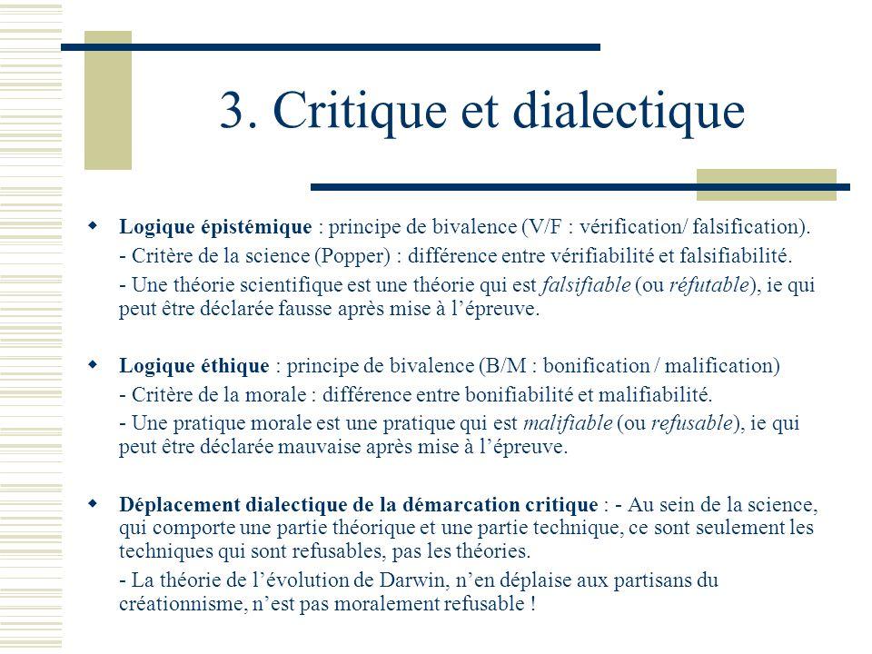 3. Critique et dialectique Logique épistémique : principe de bivalence (V/F : vérification/ falsification). - Critère de la science (Popper) : différe