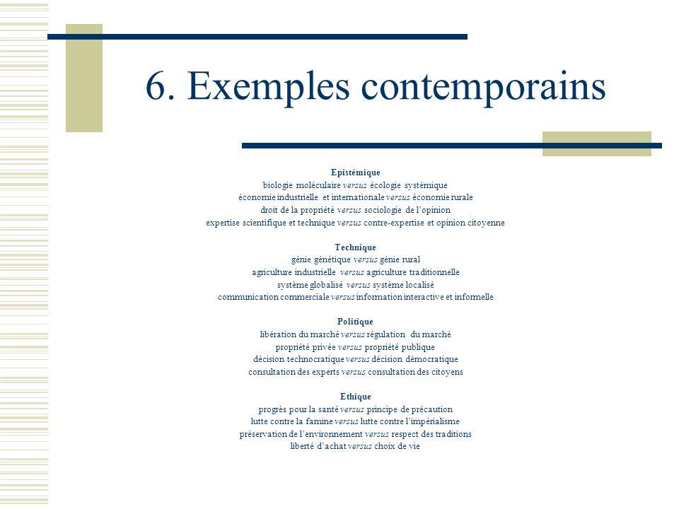 6. Exemples contemporains Epistémique biologie moléculaire versus écologie systémique économie industrielle et internationale versus économie rurale d