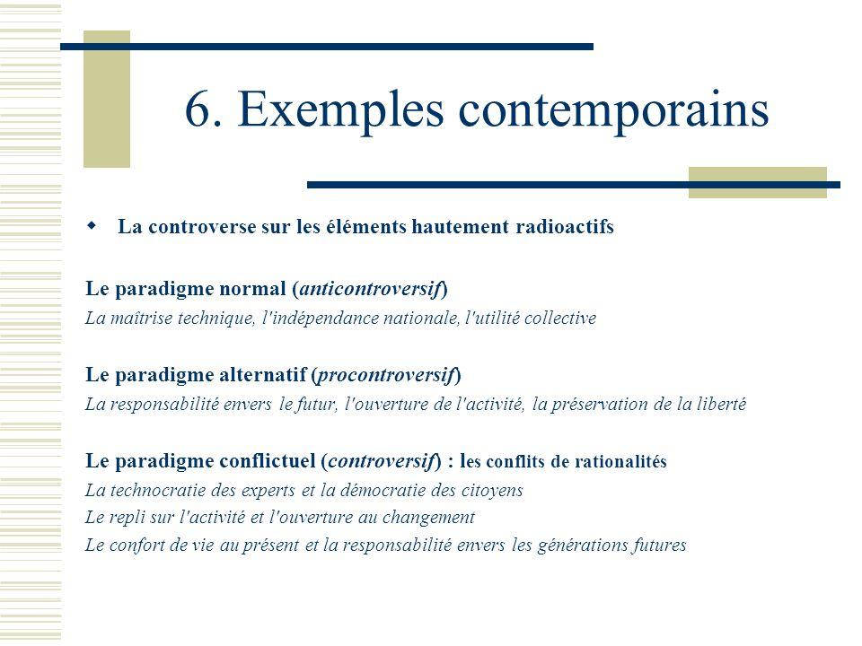 6. Exemples contemporains La controverse sur les éléments hautement radioactifs Le paradigme normal (anticontroversif) La maîtrise technique, l'indépe