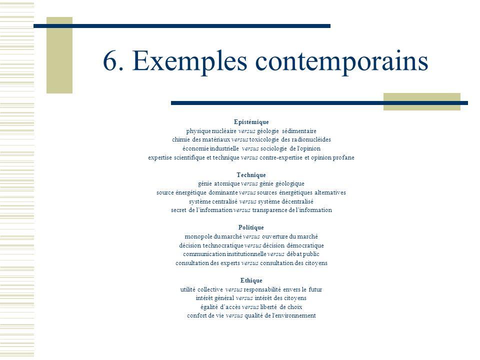 6. Exemples contemporains Epistémique physique nucléaire versus géologie sédimentaire chimie des matériaux versus toxicologie des radionucléides écono