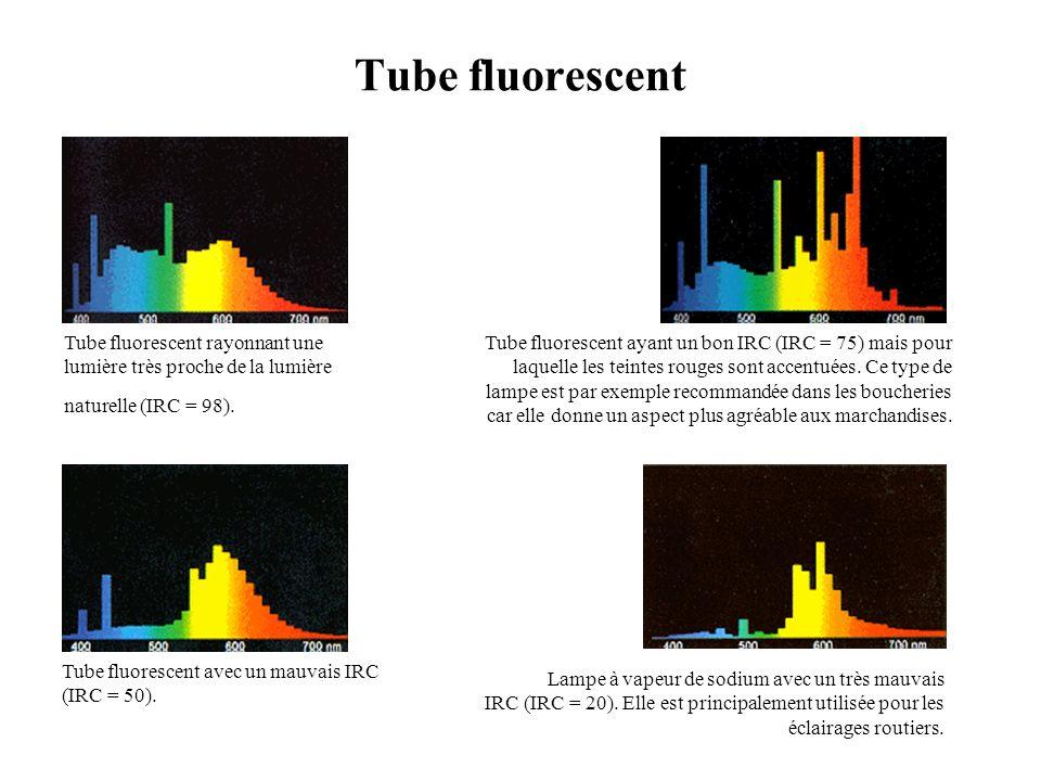 Tube fluorescent Tube fluorescent rayonnant une lumière très proche de la lumière naturelle (IRC = 98). Tube fluorescent ayant un bon IRC (IRC = 75) m