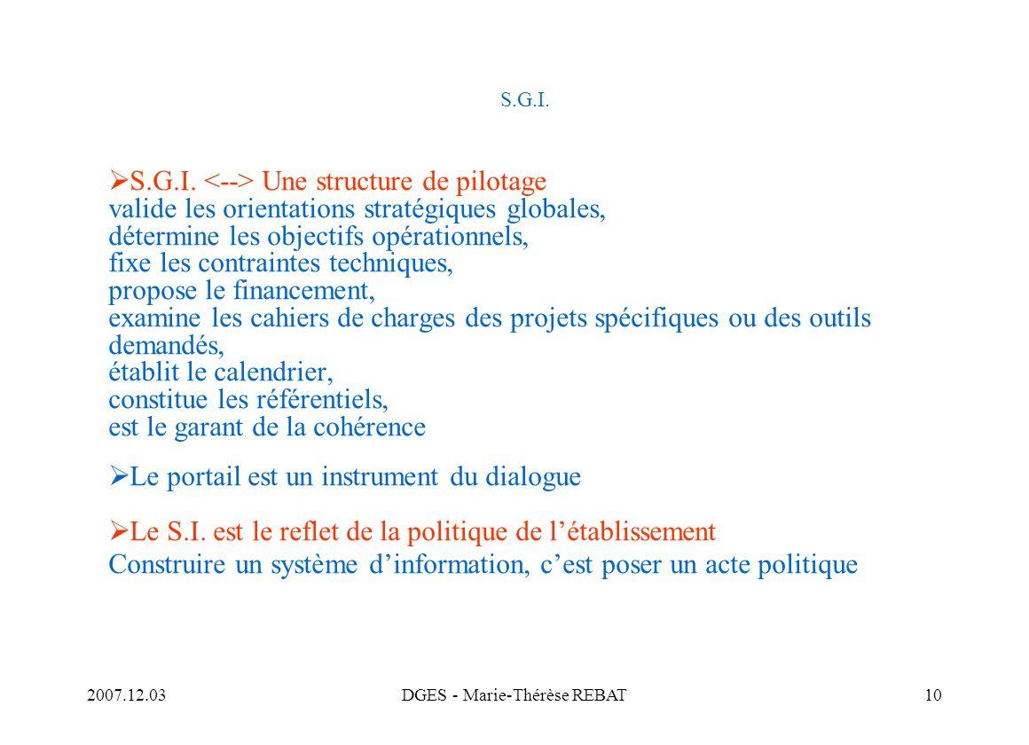 2007.12.03DGES - Marie-Thérèse REBAT10 S.G.I. S.G.I. Une structure de pilotage valide les orientations stratégiques globales, détermine les objectifs