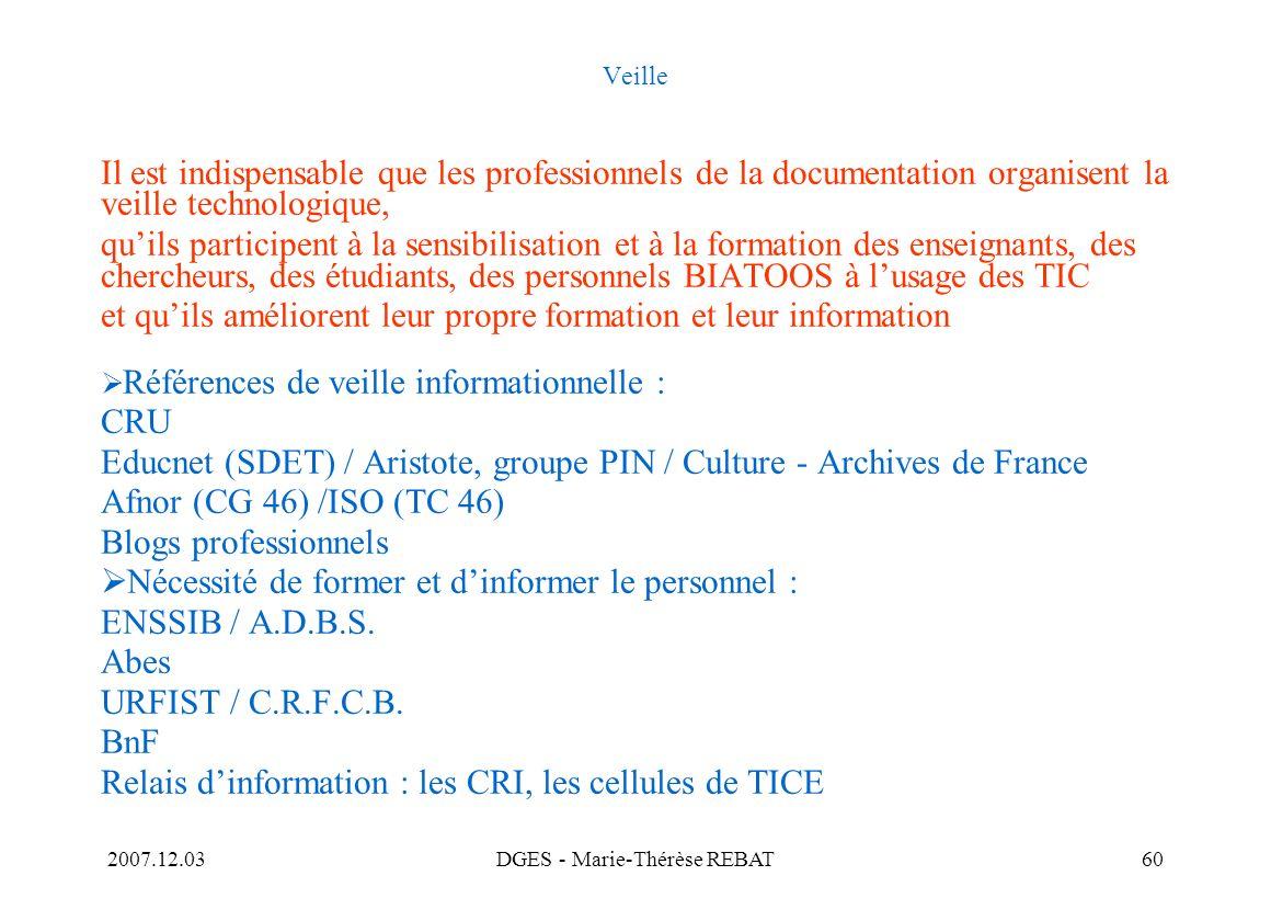 2007.12.03DGES - Marie-Thérèse REBAT60 Veille Il est indispensable que les professionnels de la documentation organisent la veille technologique, quil