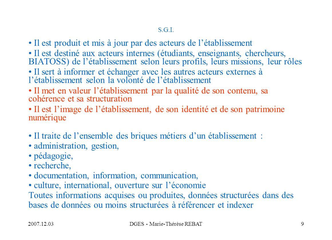 2007.12.03DGES - Marie-Thérèse REBAT60 Veille Il est indispensable que les professionnels de la documentation organisent la veille technologique, quils participent à la sensibilisation et à la formation des enseignants, des chercheurs, des étudiants, des personnels BIATOOS à lusage des TIC et quils améliorent leur propre formation et leur information Références de veille informationnelle : CRU Educnet (SDET) / Aristote, groupe PIN / Culture - Archives de France Afnor (CG 46) /ISO (TC 46) Blogs professionnels Nécessité de former et dinformer le personnel : ENSSIB / A.D.B.S.