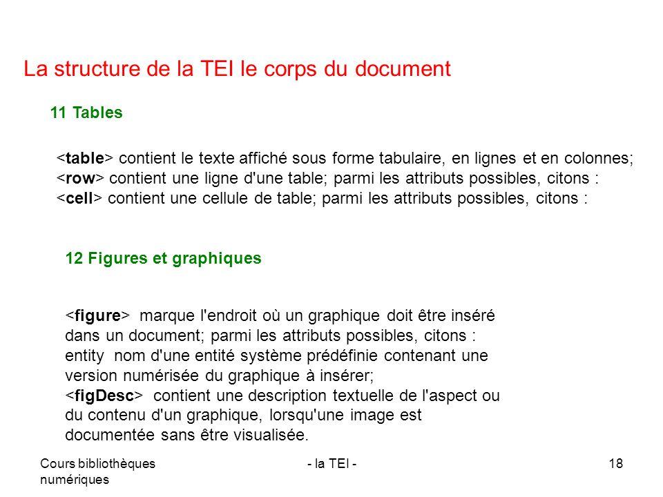 Cours bibliothèques numériques - la TEI -18 La structure de la TEI le corps du document 11 Tables contient le texte affiché sous forme tabulaire, en l
