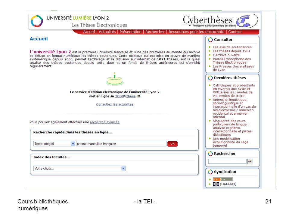 Cours bibliothèques numériques - la TEI -21