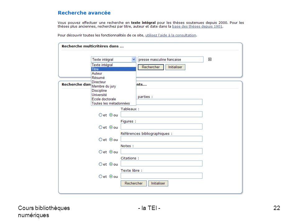 Cours bibliothèques numériques - la TEI -22