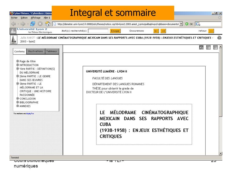 Cours bibliothèques numériques - la TEI -25 Integral et sommaire