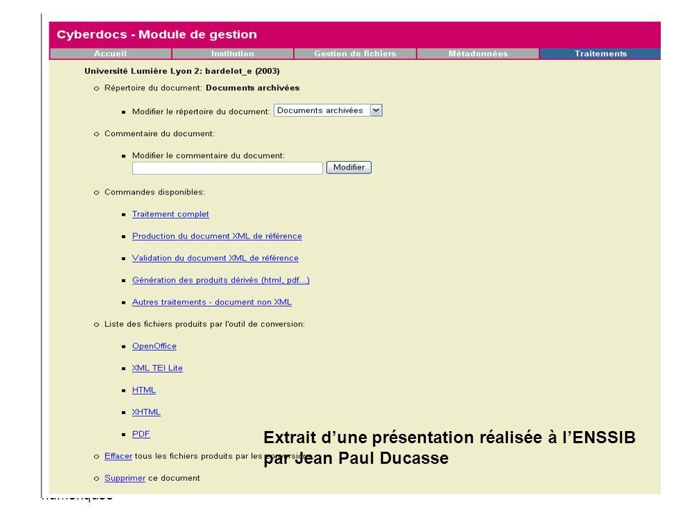 Cours bibliothèques numériques - la TEI -30 Cerist - Alger - 04 février 2004 J-P Ducasse La conversion et le résultat Extrait dune présentation réalis