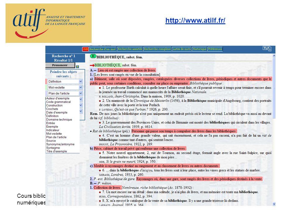 Cours bibliothèques numériques - la TEI -32 http://www.atilf.fr/