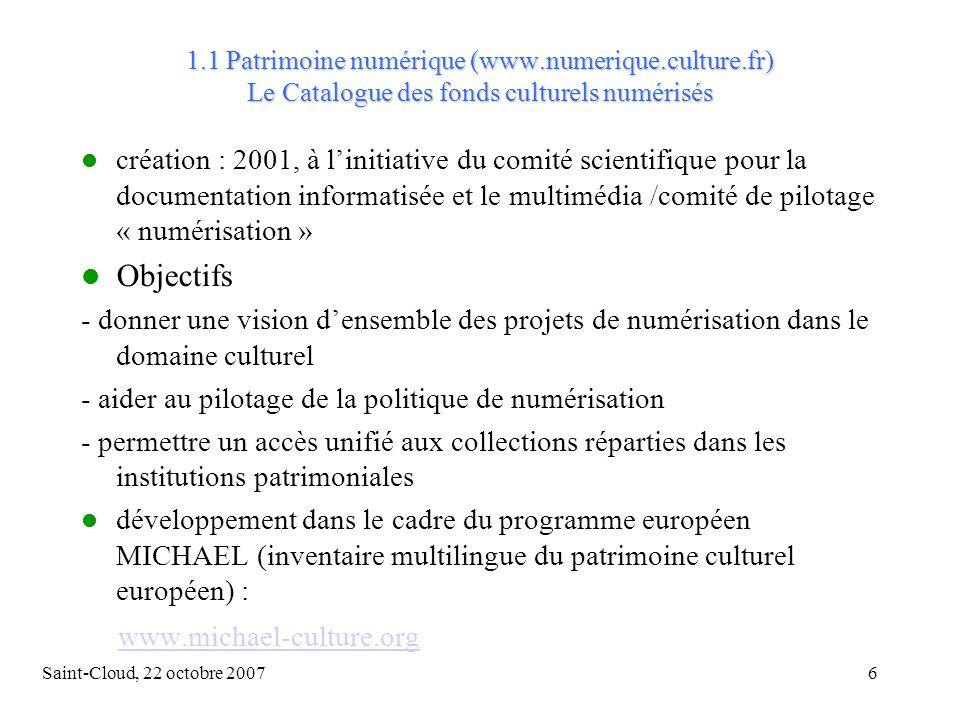 Saint-Cloud, 22 octobre 200717 Quel corpus .
