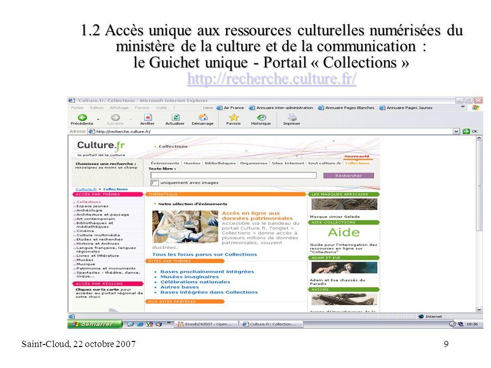 Saint-Cloud, 22 octobre 200720 2.2 La numérisation à la BnF Loffre numérique de la BnF : www.bnf.frwww.bnf.fr 1.