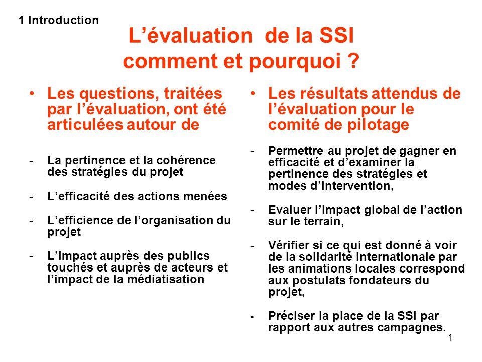 1 Lévaluation de la SSI comment et pourquoi ? Les questions, traitées par lévaluation, ont été articulées autour de -La pertinence et la cohérence des
