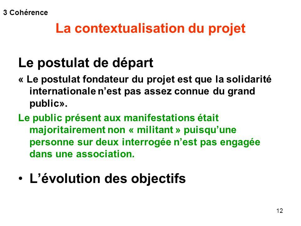 12 La contextualisation du projet Le postulat de départ « Le postulat fondateur du projet est que la solidarité internationale nest pas assez connue d