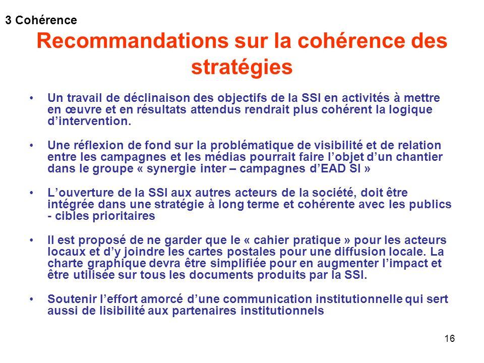 16 Recommandations sur la cohérence des stratégies Un travail de déclinaison des objectifs de la SSI en activités à mettre en œuvre et en résultats at