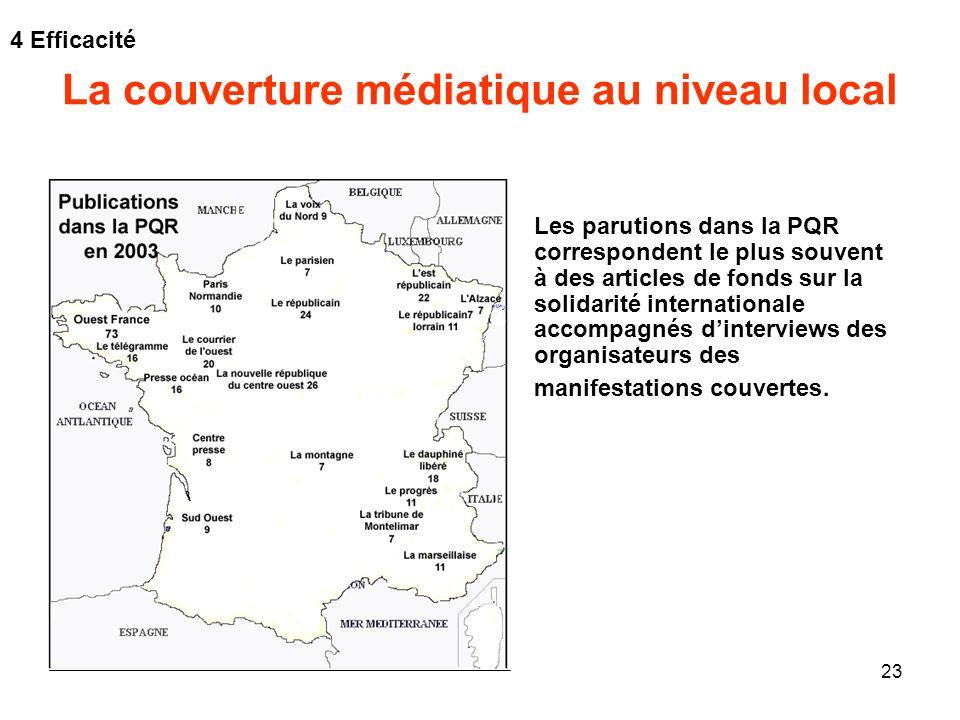 23 La couverture médiatique au niveau local Les parutions dans la PQR correspondent le plus souvent à des articles de fonds sur la solidarité internat