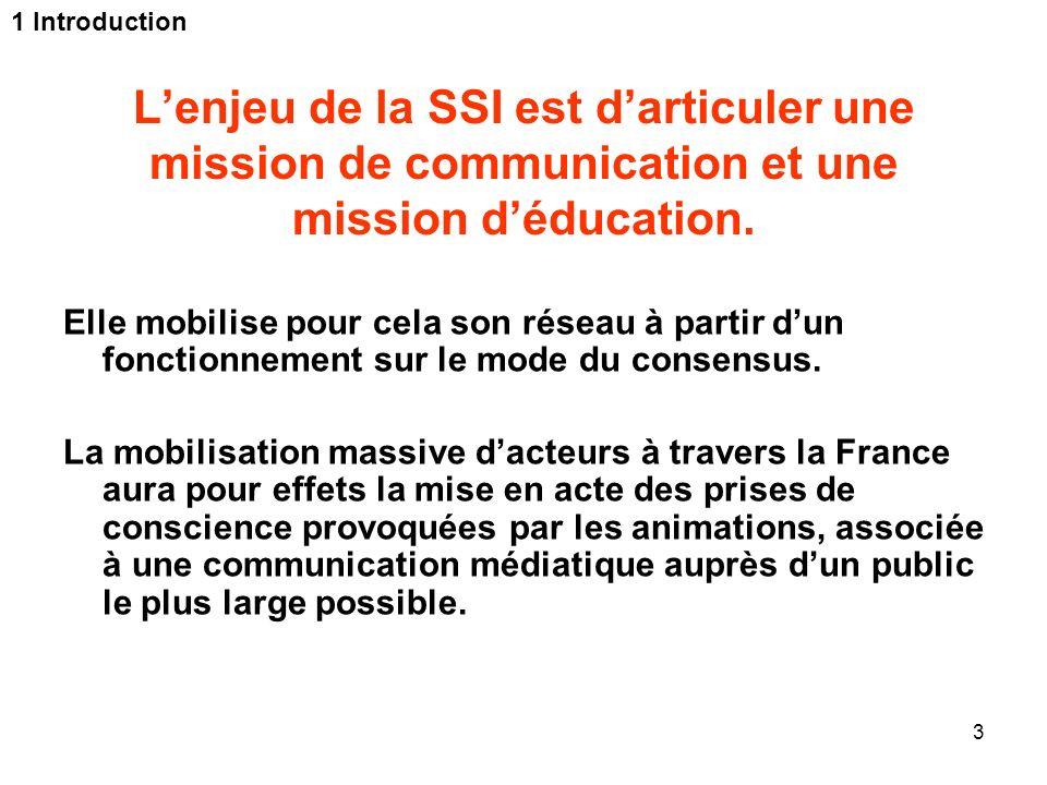 3 Lenjeu de la SSI est darticuler une mission de communication et une mission déducation. Elle mobilise pour cela son réseau à partir dun fonctionneme