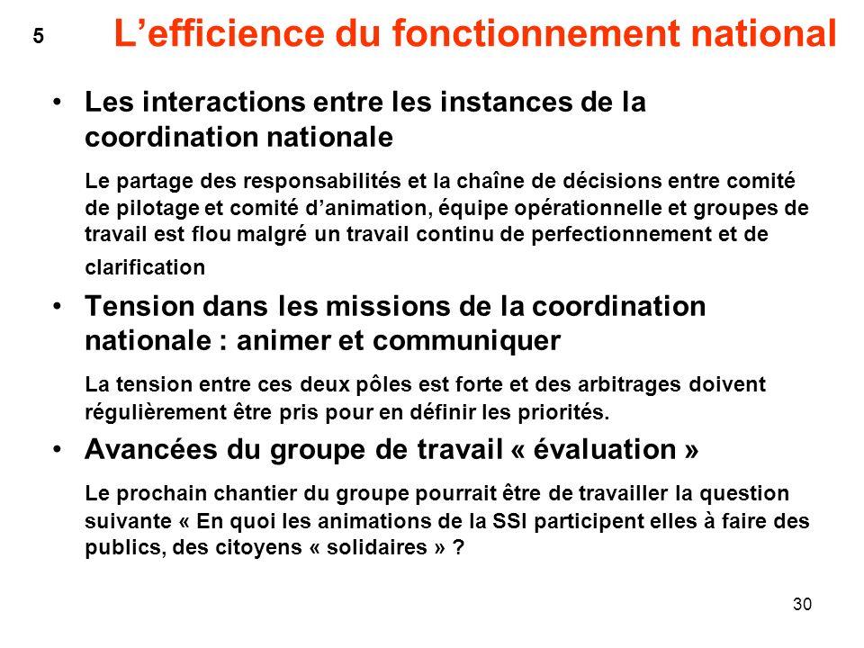 30 Lefficience du fonctionnement national Les interactions entre les instances de la coordination nationale Le partage des responsabilités et la chaîn