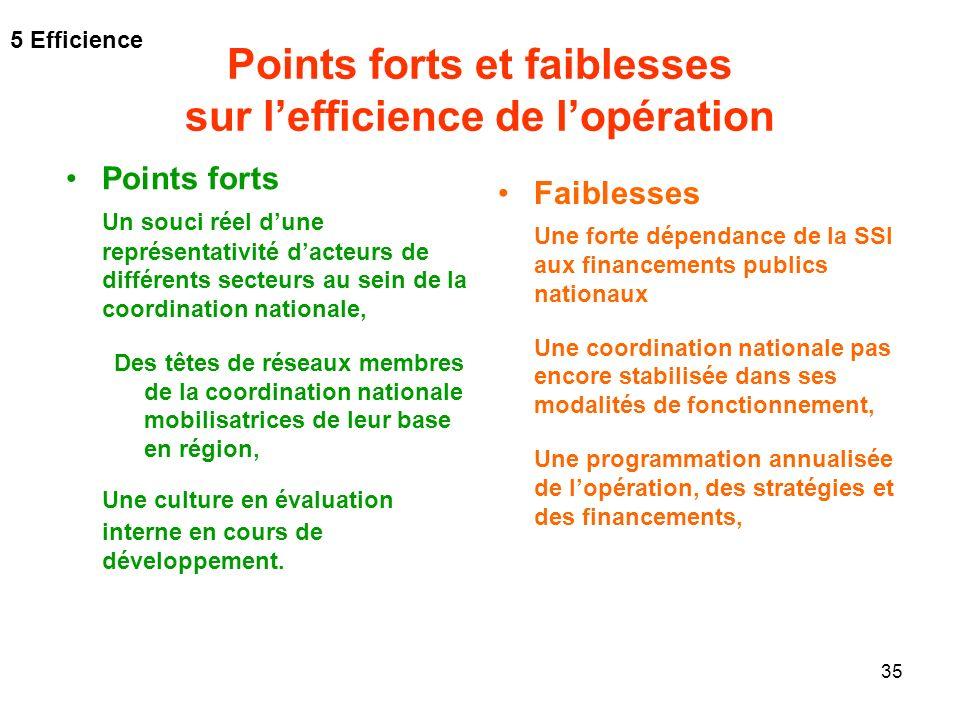 35 Points forts et faiblesses sur lefficience de lopération Faiblesses Une forte dépendance de la SSI aux financements publics nationaux Une coordinat