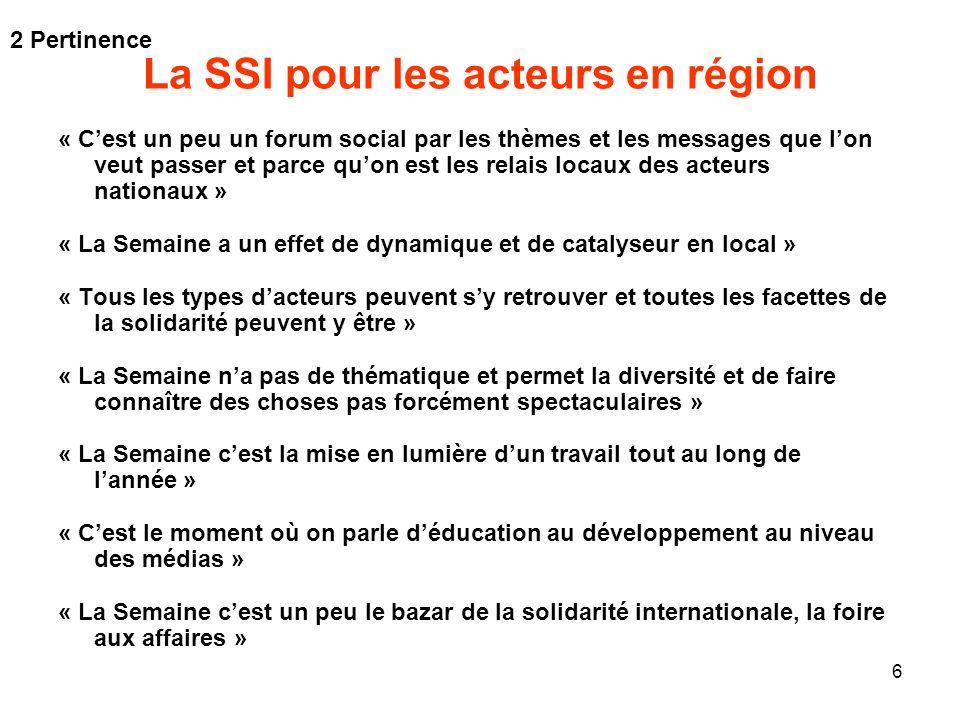 6 La SSI pour les acteurs en région « Cest un peu un forum social par les thèmes et les messages que lon veut passer et parce quon est les relais loca