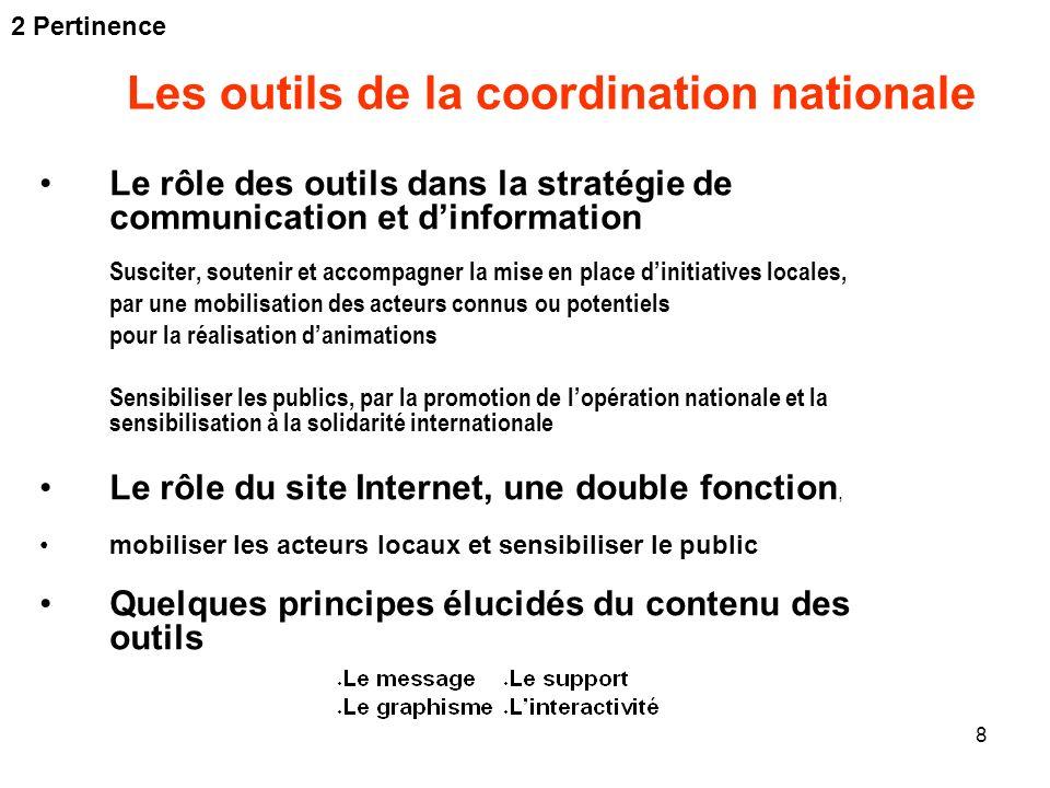 8 Les outils de la coordination nationale Le rôle des outils dans la stratégie de communication et dinformation Susciter, soutenir et accompagner la m