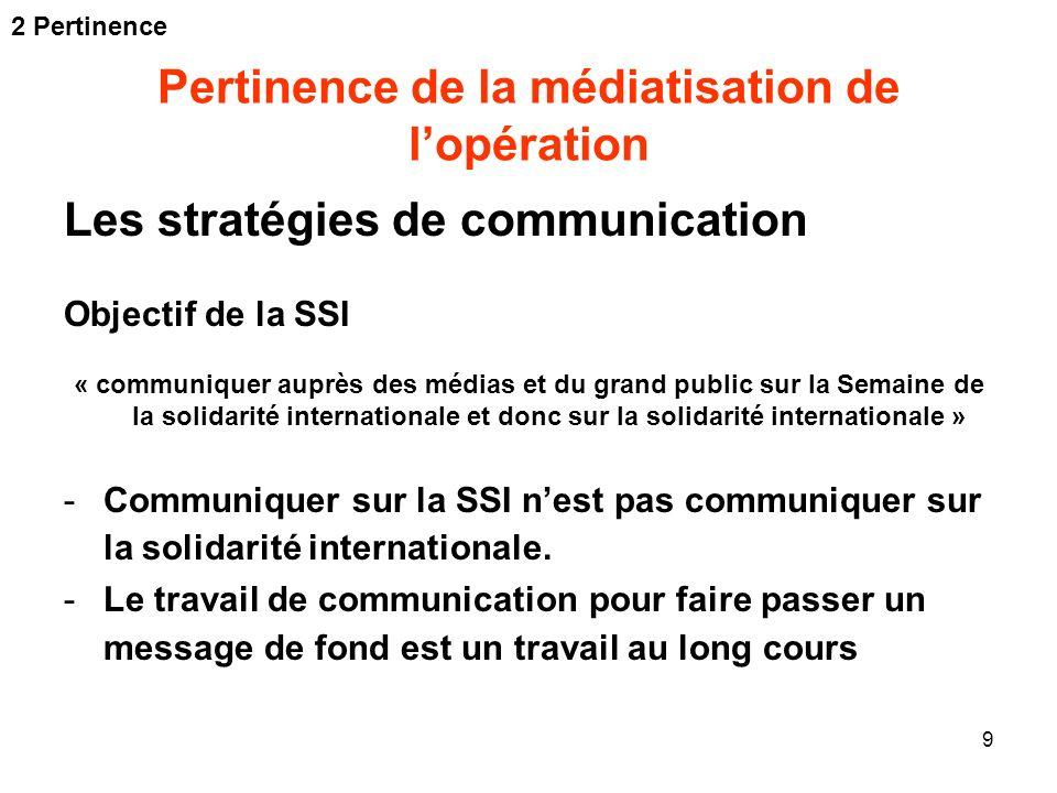 9 Pertinence de la médiatisation de lopération Les stratégies de communication Objectif de la SSI « communiquer auprès des médias et du grand public s