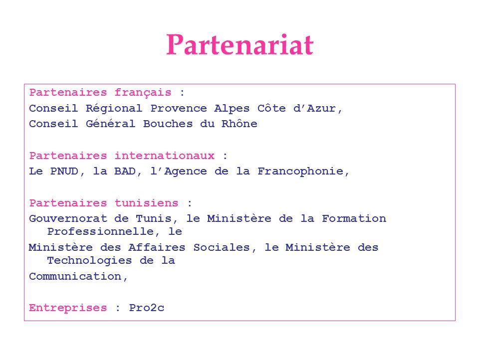 Partenariat Partenaires français : Conseil Régional Provence Alpes Côte dAzur, Conseil Général Bouches du Rhône Partenaires internationaux : Le PNUD,